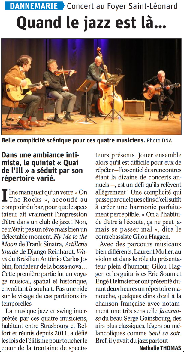 """Artikel der elsässischen Tageszeitung """"Dernières Nouvelles d'Alsace"""" – Wenn alles von Jazz erfüllt ist …"""